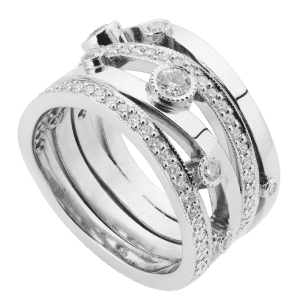 Diamond four wave band organic ring