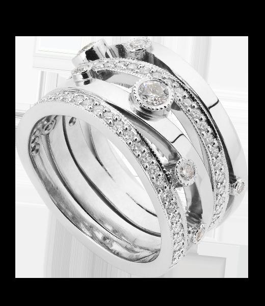 Diamond four wave band organic ring