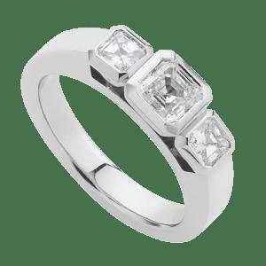 Assher diamonds three stone ring